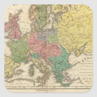 Europe Religion Atlas Map Square Stickers