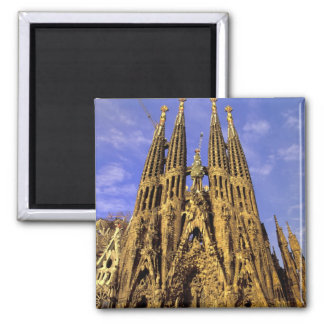 Europe, Spain, Barcelona, Sagrada Familia 2 Inch Square Magnet