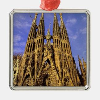 Europe, Spain, Barcelona, Sagrada Familia Square Metal Christmas Ornament