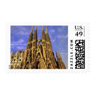 Europe, Spain, Barcelona, Sagrada Familia Postage Stamp