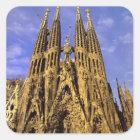 Europe, Spain, Barcelona, Sagrada Familia Square Sticker