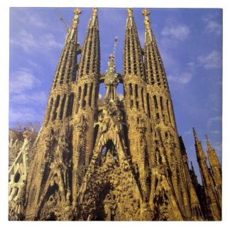 Europe, Spain, Barcelona, Sagrada Familia Large Square Tile