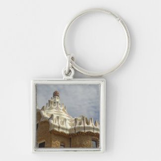Europe, Spain, Catalunya, Barcelona. Park Guell, 2 Silver-Colored Square Keychain
