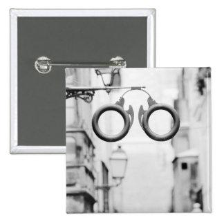 Europe, Spain, Mallorca. Eyeglass shop sign, 2 Inch Square Button