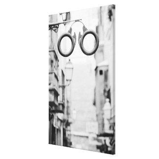Europe, Spain, Mallorca. Eyeglass shop sign, Canvas Print