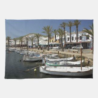 Europe, Spain, Minorca (aka Menorca). Fishing Kitchen Towels
