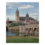 Europe, Spain, Salamanca. The Roman bridge over Poster
