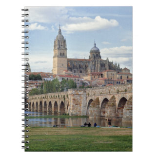 Europe, Spain, Salamanca. The Roman bridge over Spiral Notebook