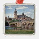 Europe, Spain, Salamanca. The Roman bridge over Square Metal Christmas Ornament