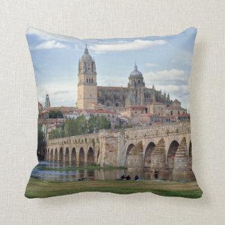 Europe, Spain, Salamanca. The Roman bridge over Throw Pillow