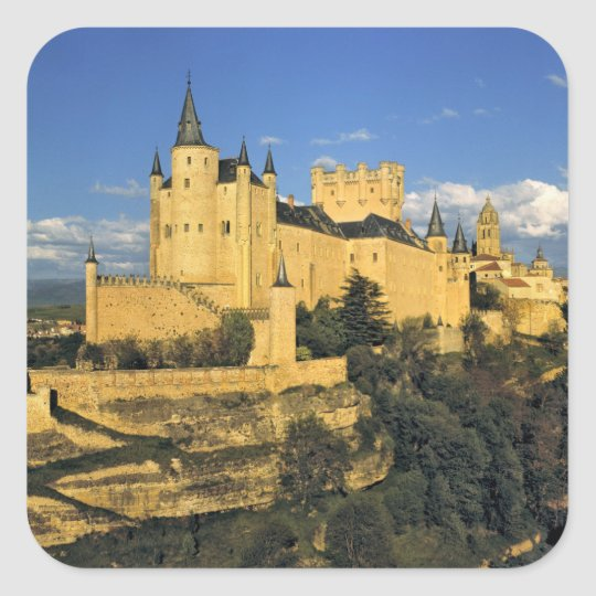 Europe, Spain, Segovia. The imposing Alcazar, Square Sticker