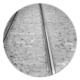 Europe, Switzerland, Bern. Tram tracks, Plate