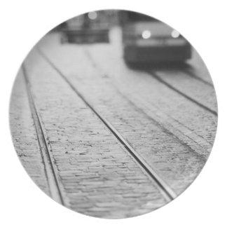 Europe, Switzerland, Berne. Tram tracks, Plate