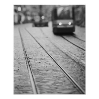 Europe, Switzerland, Berne. Tram tracks, Poster