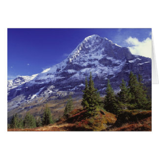 Europe, Switzerland, Eiger. Fall colors abound Card