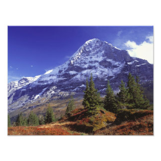Europe, Switzerland, Eiger. Fall colors abound Photo Print
