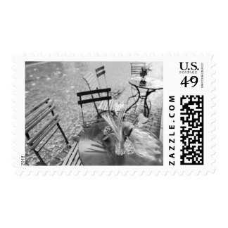 Europe, Switzerland, Lucerne. Outdoor cafe table Postage