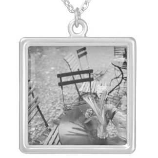 Europe, Switzerland, Lucerne. Outdoor cafe table Silver Plated Necklace
