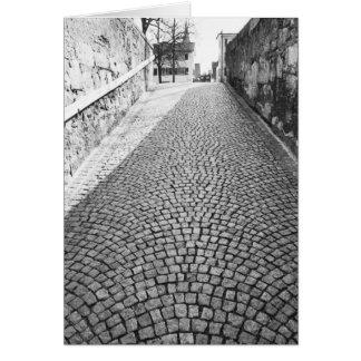 Europe, Switzerland, Zurich. Cobbled street, Card