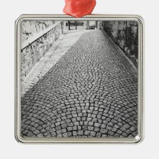 Europe, Switzerland, Zurich. Cobbled street, Metal Ornament
