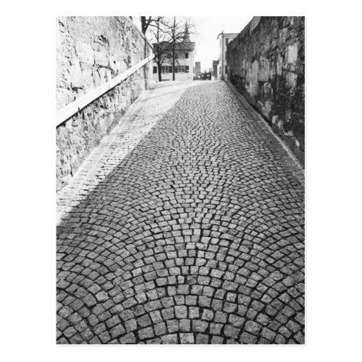 Europe, Switzerland, Zurich. Cobbled street, Postcard