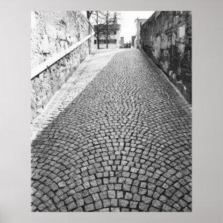 Europe, Switzerland, Zurich. Cobbled street, Poster