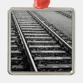 Europe, Switzerland, Zurich. Train tracks Metal Ornament