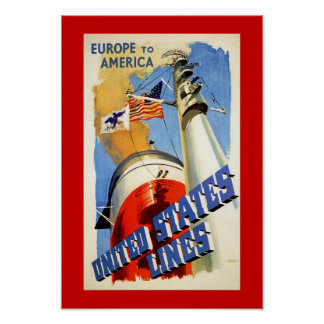 Europe to America ~ United States Lines Posters