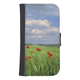 Europe, Tuscany, Poggiolo. Red poppies sway Samsung S4 Wallet Case