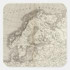 Europe uncolored map square sticker