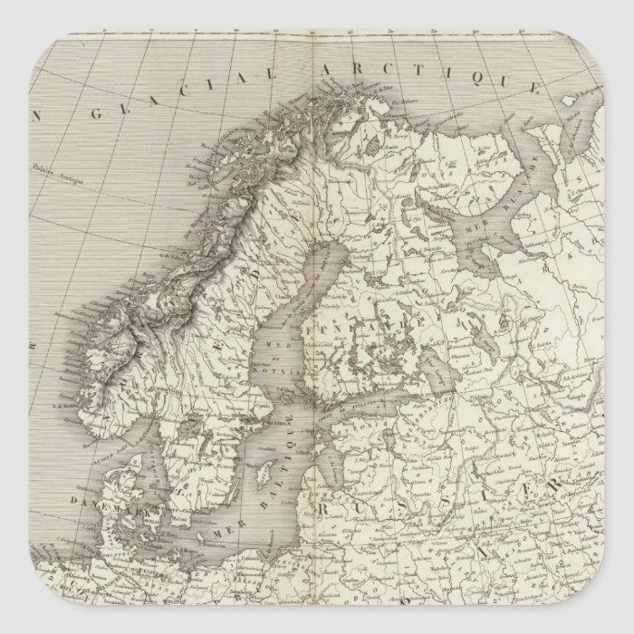 Europe uncolored map square sticker