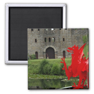 Europe, Wales, Cardiff. Cardiff Castle. Welsh 2 Inch Square Magnet
