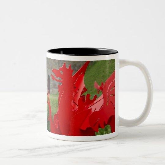 Europe, Wales, Cardiff. Cardiff Castle. Welsh Two-Tone Coffee Mug
