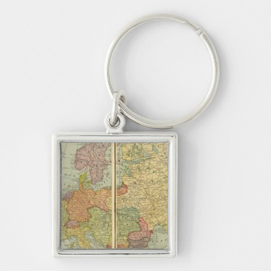 Europe with telegraph lines keychain