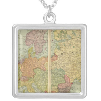 Europe with telegraph lines necklaces