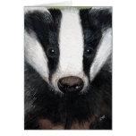 European Badger Portrait Painting Note Card