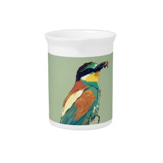 European Bee-Eater Vintage Retro Style Mint Green Pitchers
