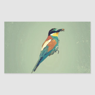 European Bee-Eater Vintage Retro Style Mint Green Rectangle Stickers