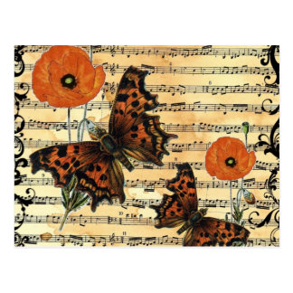 European Butterflies With Poppies Postcard