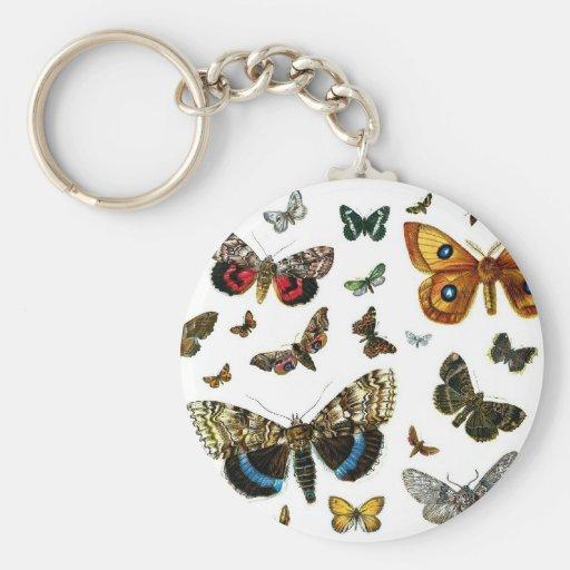 European Butterfly Collage Basic Round Button Keychain