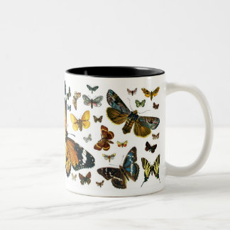 European Butterfly Collage Two-Tone Coffee Mug