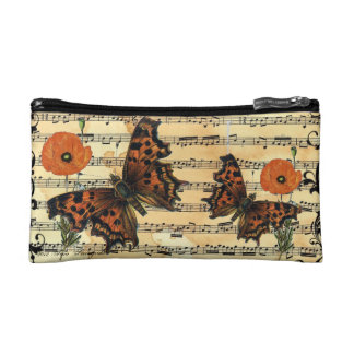 European Butterfly with Poppy Cosmetic Bag