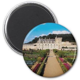 European, castle, flowerbeds 2 inch round magnet