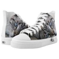 European cat portrait printed shoes