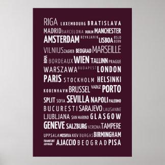 European cities - typographic poster, aubergine poster