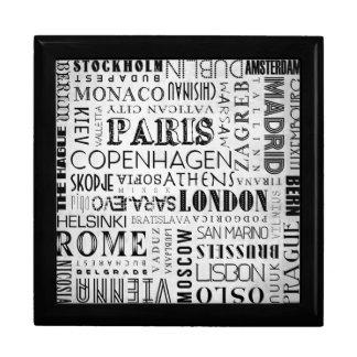 European Cities Typography Ceramic Tile Gift Box