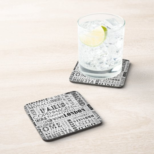 European Cities Typography Drink Coasters Set