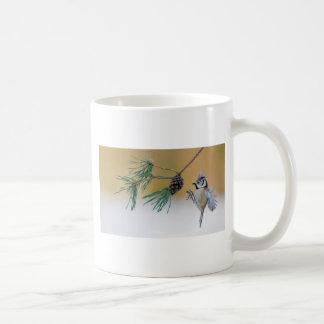European Crested Tit Bird Lands on a Pine Tree Coffee Mug