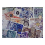 European currency postcard