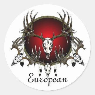 European  deer skulls classic round sticker